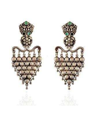 Green Unique Designer Grapes Design Oxidised Earring