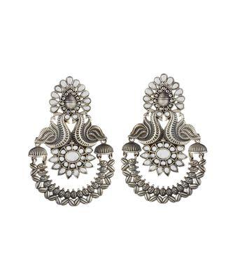 white silver peacock design black oxidised chand bali pattern