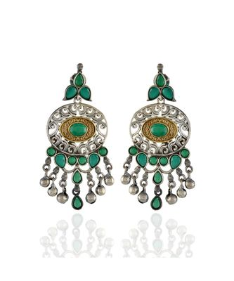 green silver golden designer collection oxidised earring
