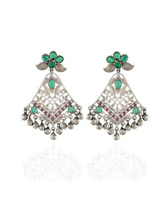 green oxidised unique design beautiful designer collection earring