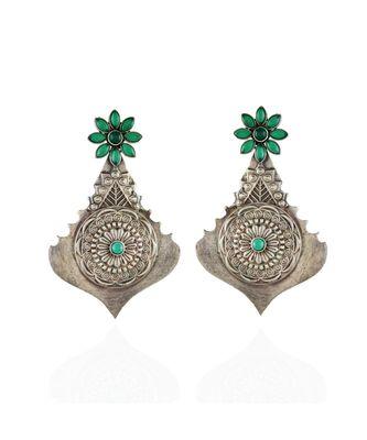 green designer vintage look stylish oxidised earring
