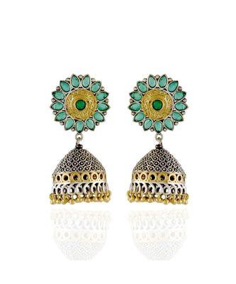 green  silver golden  stylish designer jhumki  earring