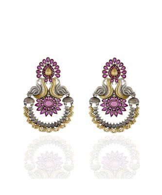 red silver golden peacock design stylish designer earring