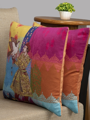 HOUZZCODE Multicoloured Set of 2 Ethnic Motifs Square Cushion Covers