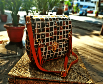 Checks Pattern Brown Sling Bag