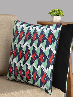HOUZZCODE Multicoloured Set of 2 Geometric Square Cushion Covers