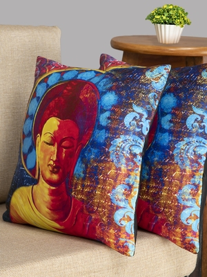 HOUZZCODE Blue & Yellow Set of 2 Ethnic Motifs Square Cushion Covers