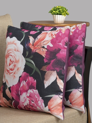 HOUZZCODE Pink & Black Set of 2 Floral Square Cushion Covers