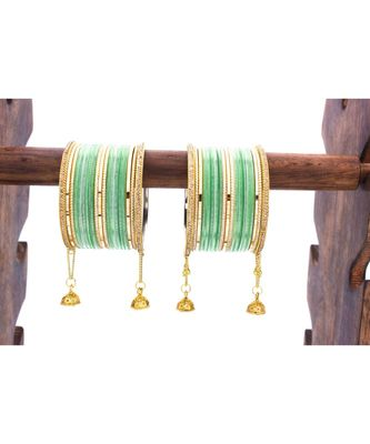 Shining Bangle with Jhumki and Lac side Bangles for two hands