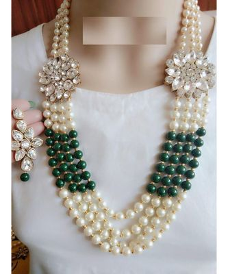 Gold Plated Pearl Layered Necklace Earring Traditional Jewellery Set