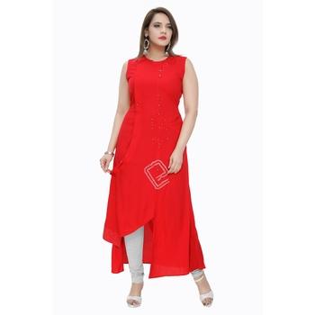 Red plain rayon ethnic-kurtis