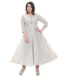 Beige printed cotton ethnic-kurtis