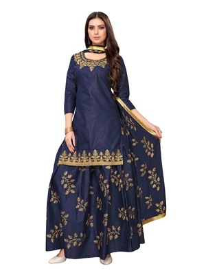 Navy-blue embroidered cotton salwar