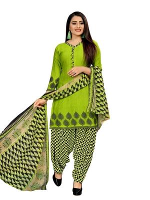 Green printed crepe salwar
