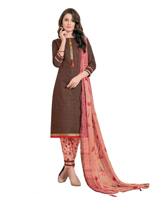 Brown printed poly cotton salwar