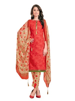 Red printed poly cotton salwar