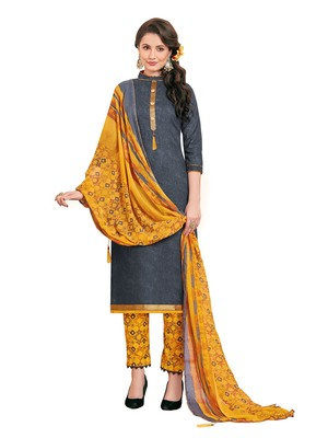 Navy-blue printed poly cotton salwar