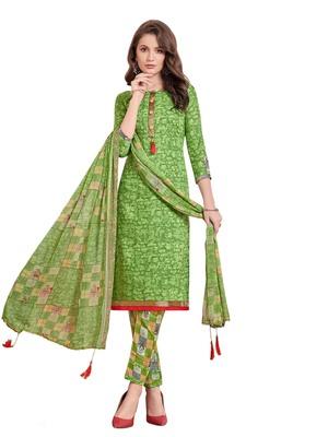 Green printed poly cotton salwar