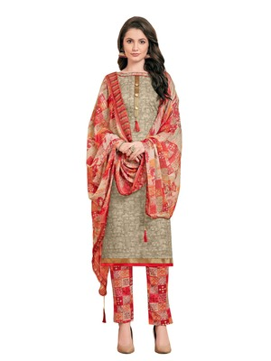 Beige printed poly cotton salwar