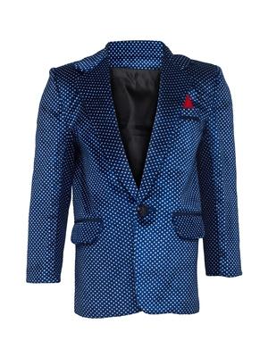 Blue plain velvet boys-blazer
