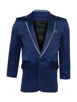 Blue plain silk blend boys-blazer