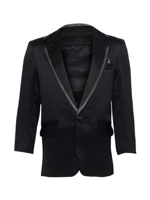 Black plain silk blend boys-blazer