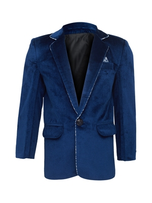 Blue plain silk blend boys-blazer