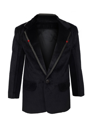 Black plain silk blend boys-blazer