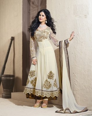 White embroidered crepe salwar