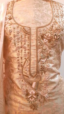 Suroh by Chandni Powder Pink Zari Weave Chanderi Silk Hand Embroidery Suit Fabric