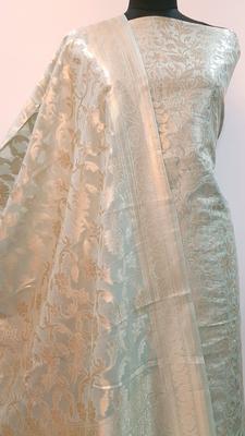 Suroh by Chandni Sea Green Chanderi Silk Zari Weave Suit Fabric