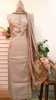 Suroh by Chandni Mouse Brown Pam Silk Handwork Unstitched Suit