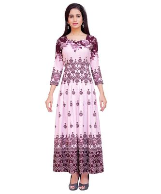 Pink Printed Heavy Rayon Floral Print Gown