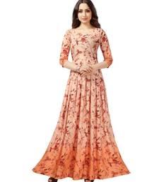 Orange Printed Heavy Rayon Floral Print Gown