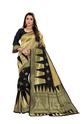 black woven jacquard saree with blouse