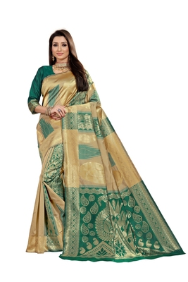 green woven jacquard saree with blouse
