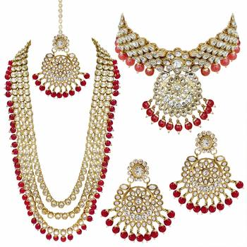 Latest Gold Plated Kundan Pearl Fancy Necklace Jewellery Set for Women Bridal