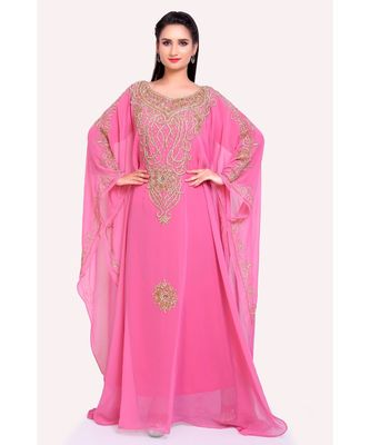 light pink georgette embroidered zari work islamic kaftans