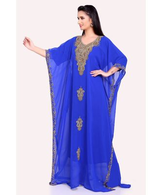 royal blue georgette embroidered zari work islamic kaftans