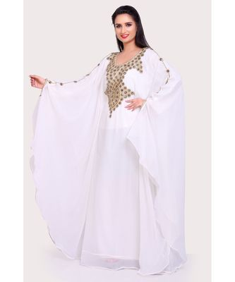 white georgette embroidered zari work islamic kaftans