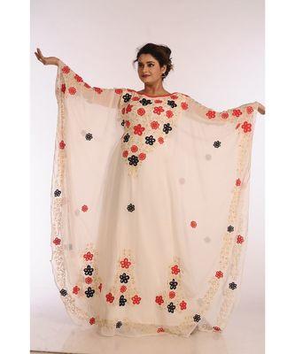 Cream Georgette Embroidered Zari Work Islamic Kaftans