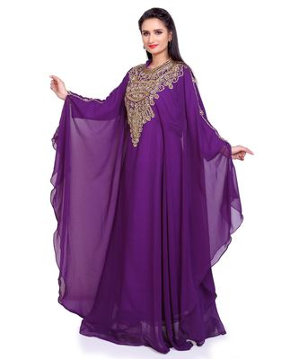 purple georgette embroidered zari work islamic kaftans