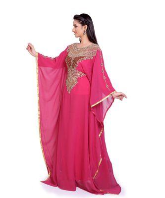 dark rani pink georgette embroidered zari work islamic kaftans