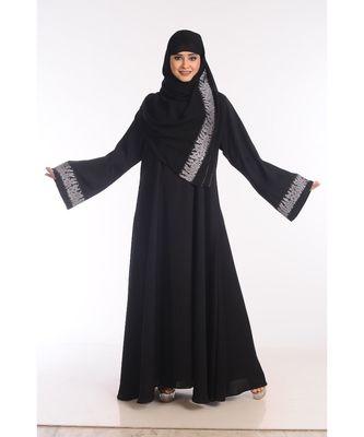 black nida embroidered zari work abaya