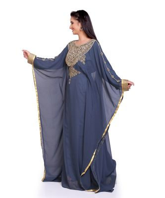 grey georgette embroidered zari work islamic kaftans