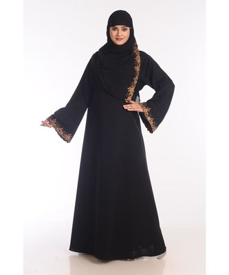 black nida embroidered zari work abaya