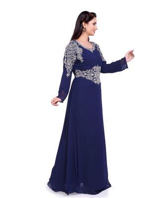 navy blue georgette embroidered zari work islamic kaftans