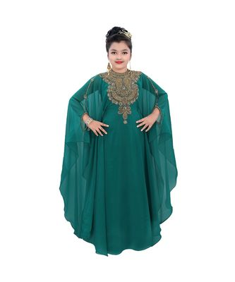 sea green georgette embroidered zari work kids kaftans