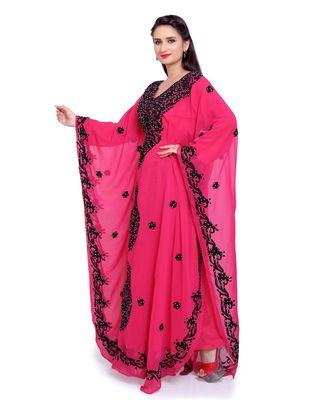 rani pink georgette embroidered zari work islamic kaftans