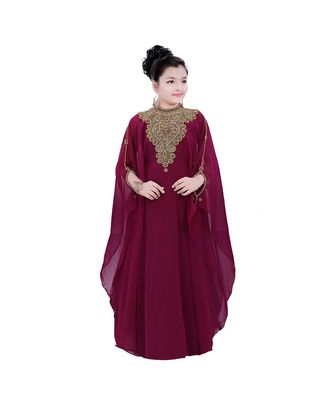 Maroon Georgette Embroidered Zari Work Kids Kaftans
